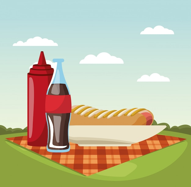 Picnic in the park vector illustration graphic design