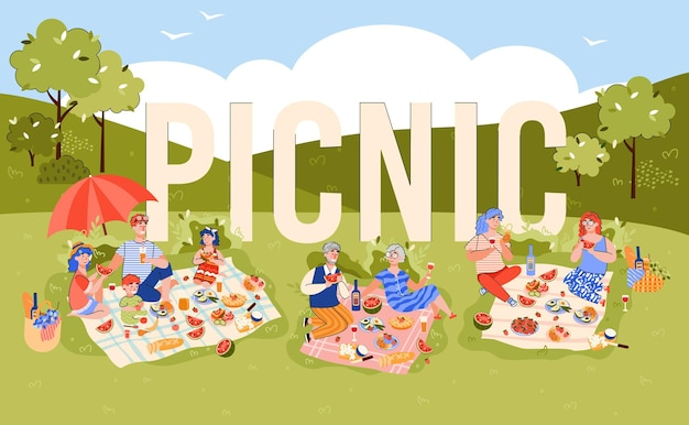 Picnic party banner or poster design with groups of people in park, flat cartoon vector illustration. summer picnic tradition to eat outdoor with family and friends.