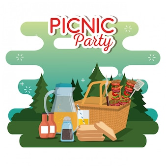 Picnic party celebration scene