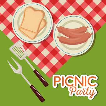 Picnic party invitation set icons