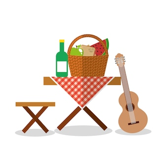 Picnic party scene icon