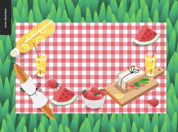 ピクニック格子縞と緑の芝生のテンプレートの軽食