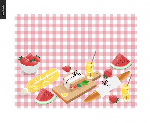 Picnic plaid and snack template