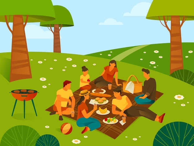 Picnic or recreation in forest or parkland
