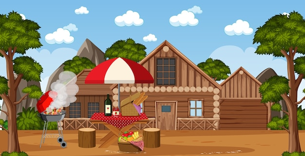 Сцена пикника с едой на столе и грилем для барбекю в саду