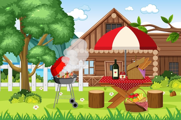 Picnic scene with food on the table and bbq grill in the garden