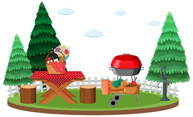 Picnic scene with food on the table