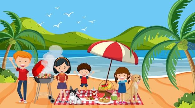 ビーチで幸せな家族とのピクニックシーン