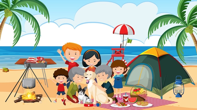 Picnic scene with happy family at the beach