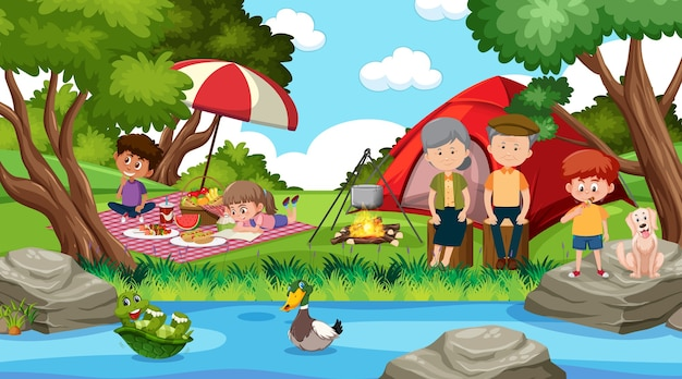 Picnic scene with happy family in the forest