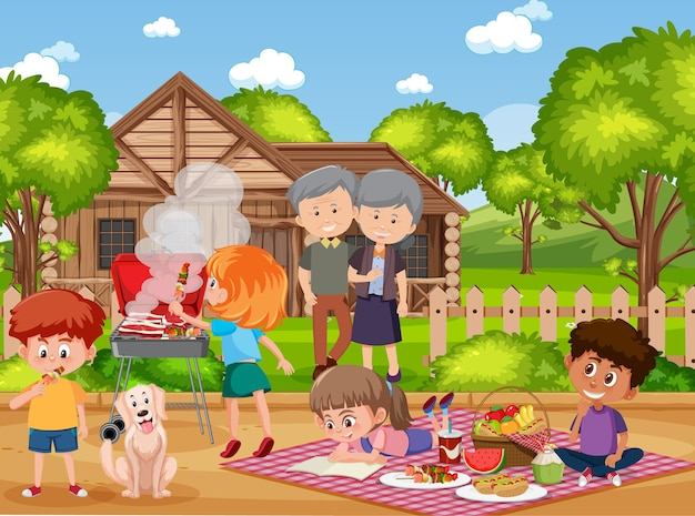 Picnic scene with happy family in the garden