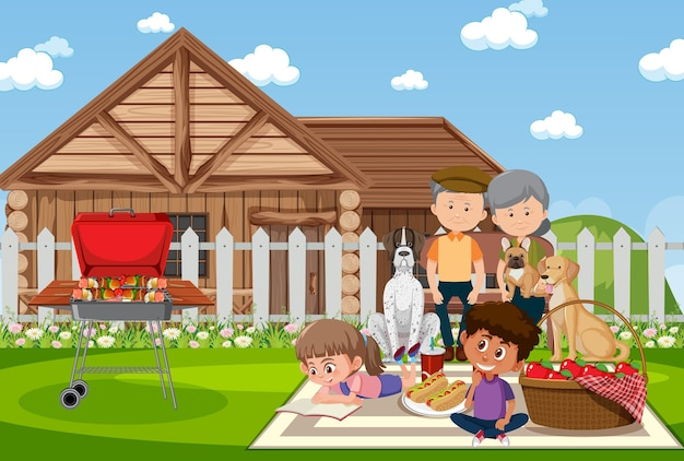 정원에서 행복한 가족과 함께 피크닉 장면