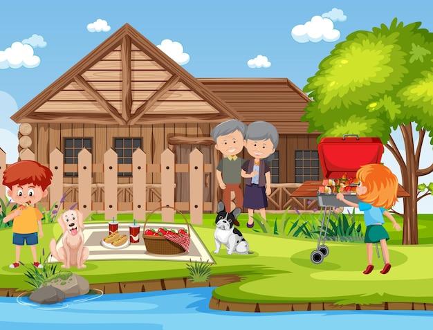 庭で幸せな家族とのピクニックシーン