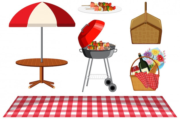 Picnic set with bbq grill and food on white background