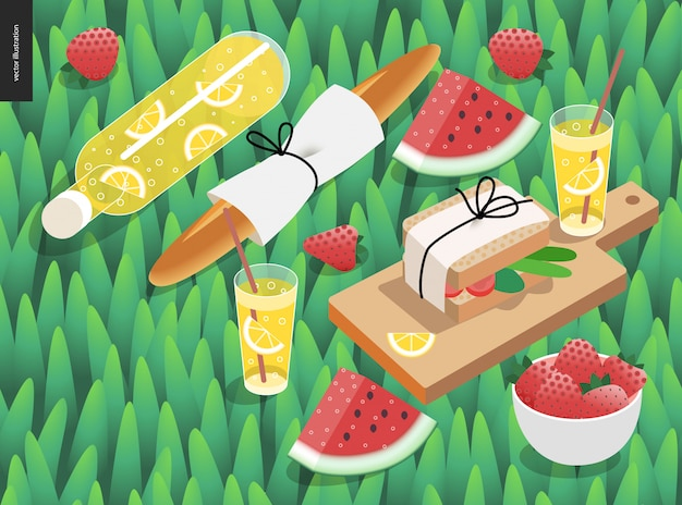 Picnic snack and grass template