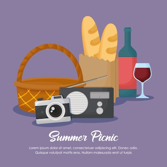 Picnic summer design with basket and related icons over purple background, colorful design. vector i
