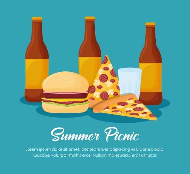 青い背景、カラフルなデザイン上のビール瓶とピザとピクニック夏のデザイン。ベクトルイリュ