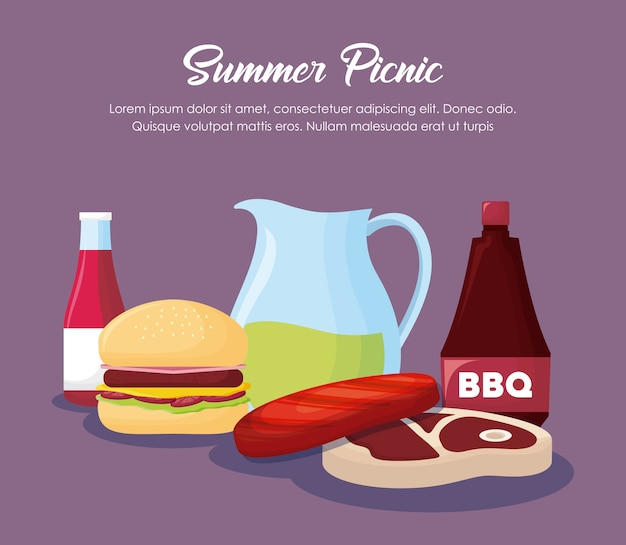 Picnic summer design with hamburger and related icons over purple background, colorful design. vecto