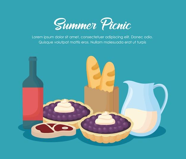 青い背景、カラフルなデザイン上のワインボトルと食品とピクニック夏のデザイン。ベクターイラスト