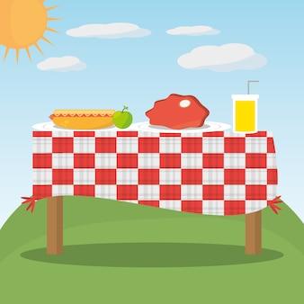 ピクニックテーブル赤いチェッカーフードの風景