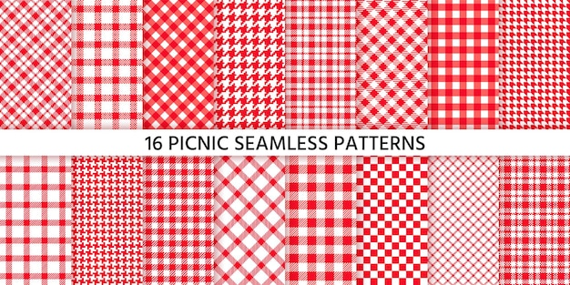 Picnic tablecloth seamless pattern. red gingham background. plaid cloth napkin textures. check print