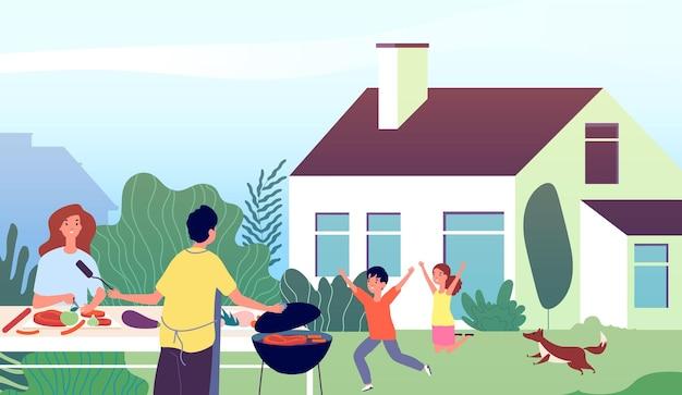 피크닉 시간. 정원 바베큐 파티. 가족 뒤뜰 바베큐 요리.