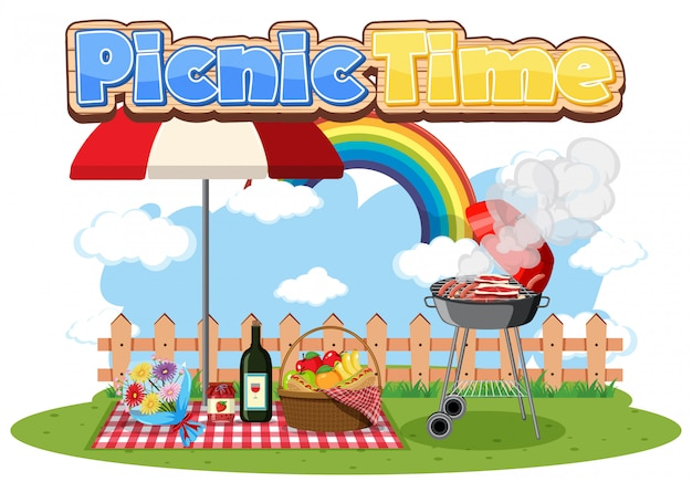 Picnic time with food in the park