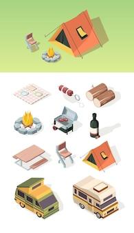 椅子、テント、バーベキューでのピクニック