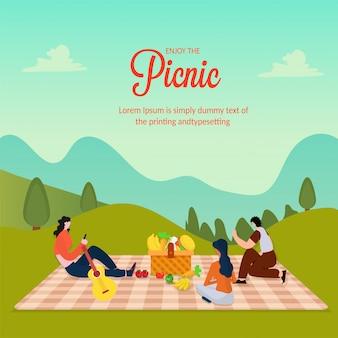 Picnic with family or friends concept.