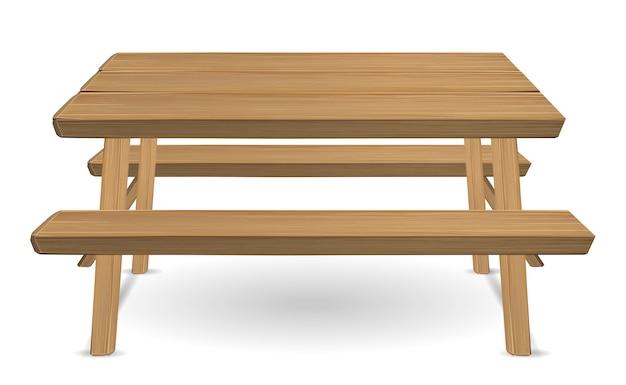 白い背景にピクニック木製のテーブル