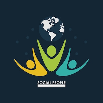 Pictogram people with earth globe concept social people