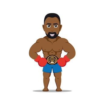 白い背景の上のボクシンググローブを持つ強いアスリートの男性を想像してみてください