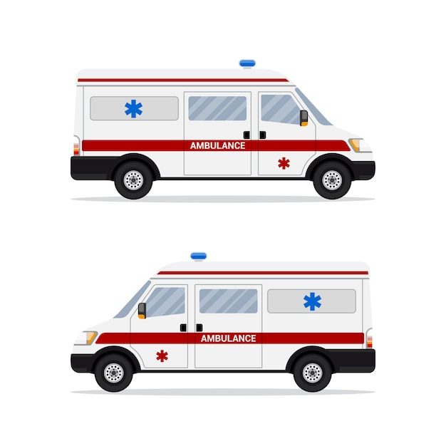 Picture of abulance emergency paramedic car  on white background. first aid transportation.   .