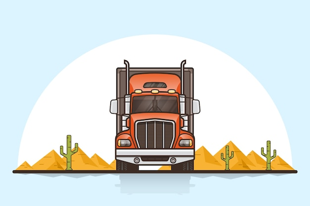 Picture of american cargo truck trailer, front view. flat style line art illustration. cargo transportation concept.