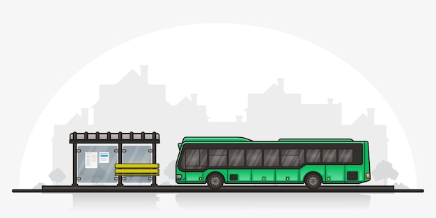 Picture of a bus stopped near bus stop with a town silhouette on background. public transport concept. flat style lineart illustration.