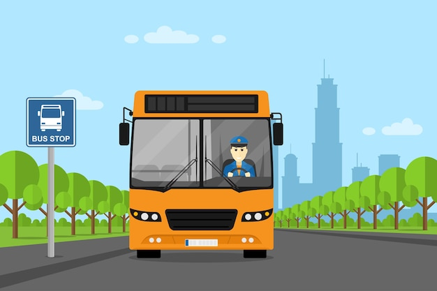 Picture of a bus with busdriver inside, standing on bus stop,  style illustration