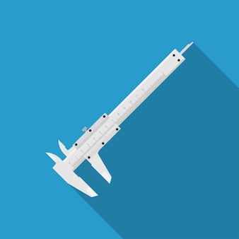 Picture of a caliper on blue background,  style illustration