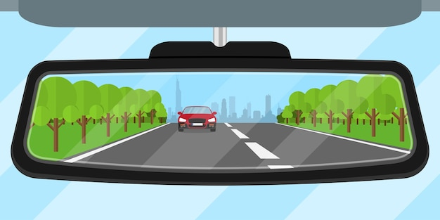 Picture of a car rear view mirror reflected road, another car, trees and big city silhouette,  style illustration