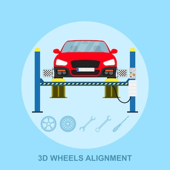 Picture of a car with computerized alignment device at wheel, alignment service station,  style illustration