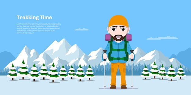Picture of cartoon hiking tourist man with large backpack and trekking poles with forest and mountains