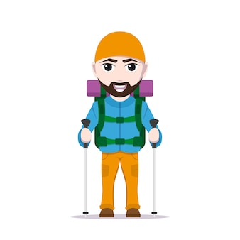 Picture of cartoon traveler with large backpack and trekking poles, tourist man character  on white background