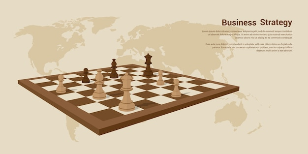 Picture of chessboard with chess figures on it,  style banner desing of business strategy concept