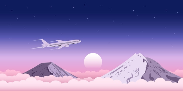 Picture of a civilia plane flying above the clouds with mountains on background, web banner  for travel, transportation, plane tickets advertisement concept