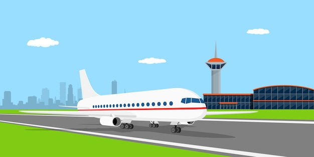 Picture of a civilian plane on landing strip, in front of airport,  style illustration