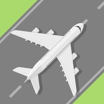 Picture of civilian plane standig on landing strip,  style illustration