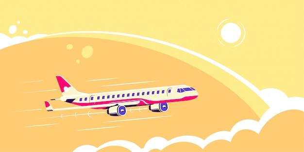 Picture of a civilian plane with sun and clouds on background, flat style illustration