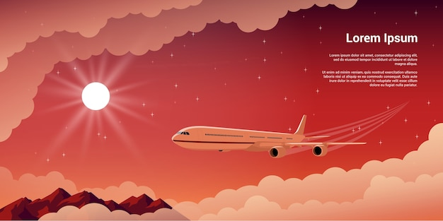 Picture of a civilian plane witn clouds. mountains, setting sun and stars on background,  style illustration, concept banner for vacation and travel concept