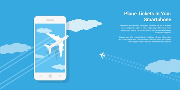 Picture of civilian planes flying above mobile phone,  style illustration, mobile air ticket service concept