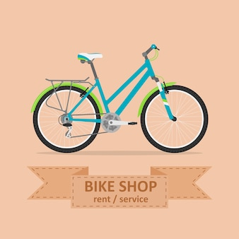 Picture of a comfort bicycle,  style illustration