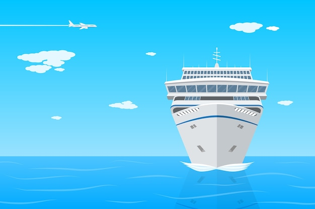 Picture of cruise liner in the sea, front view,  ctyle illustration on vacation, travel, holidays concept